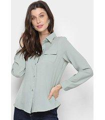 camisa adooro! botões manga longa feminina