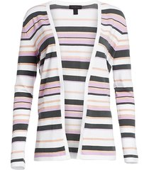 saks fifth avenue women's collection viscose elite open front striped cardigan - iced purple combo - size xs