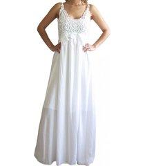 vestido bordado white zagora