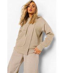 oversized hoodie met zak detail, taupe