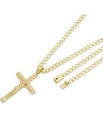 pingente crucifixo com corrente grumet tudo joias fecho gaveta folheado a ouro 18k dourada