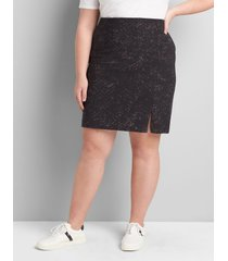 lane bryant women's on-the-go pencil skirt - zip detail 28 black viper print