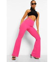 broek met uitgesneden taille en wijd uitlopende pijpen, hot pink