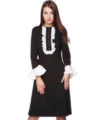 sukienka z żabotem czarna