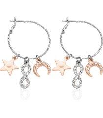 orecchini a cerchio in metallo bicolore e strass con simboli stella, infinito e lunula per donna