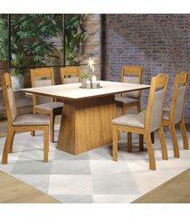 mesa de jantar 6 lugares baly seda/off white/cru - viero móveis