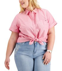 tommy hilfiger plus size cotton pin-dot camp shirt