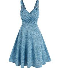 space dye buckle straps knee length dress