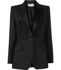 alexander mcqueen lace-panel blazer - black