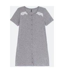 camisola manga curta estampa poá com botões frontais | lov | cinza | eg