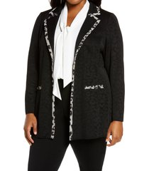 plus size women's ming wang jacquard knit jacket