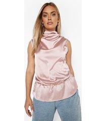 plus satijnen peplum blouse met waterval hals, blush