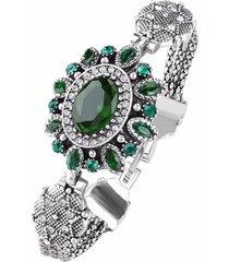 braccialetto vintage polsino ovale con strass goccia d'acqua placcato oro gioielli etnici per le donne
