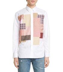 men's junya watanabe patchwork long sleeve button-up shirt, size medium - white