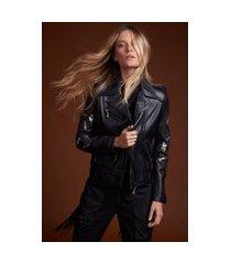 jaqueta de couro motor preta make fashion make love preto - 42