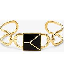 mk bracciale a fascia in argento sterling placcato oro 14k con lucchetto mercer - oro (oro) - michael kors