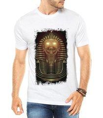 camiseta criativa urbana faraó neon olhos luz dourado