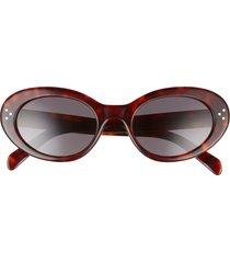 celine 53mm cat eye sunglasses in shiny dark havana/smoke at nordstrom