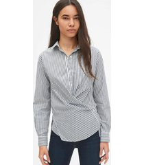 blusa cross-button boyfriend azul gap