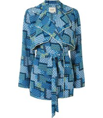 bambah patchwork trench dress - blue