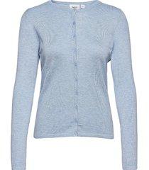 a8661, l/s cardigan r-neck stickad tröja cardigan blå saint tropez
