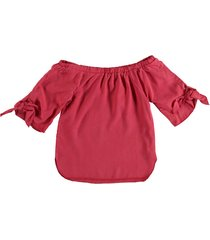 geisha stevig zacht rood off shoulder shirt van stevig lyocell