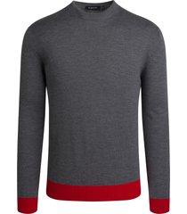 men's bugatchi mock neck merino wool sweater, size xx-large - grey
