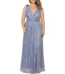 xscape rosette shoulder metallic gown, size 16w in royal/silver at nordstrom