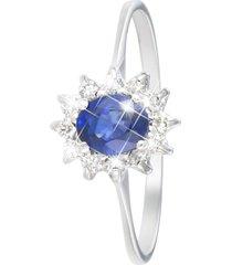 anello in oro bianco, zaffiro 0,50 ct e diamanti 0,15 ct per donna