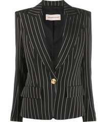 alexandre vauthier deep v-neck pinstripe jacket - black