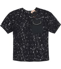 n.21 lace top with pocket and crystals