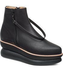 503g black leather shoes boots ankle boots ankle boot - flat svart gram