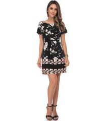vestido chemise zaiko estampada floral manga curta 2424 feminino - feminino