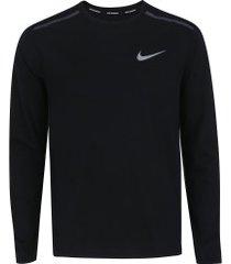 camiseta manga longa nike breathe rise 365 - masculina - preto