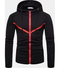 mens sport colour stitching big pockets drawstring sottile fit hoodie casual