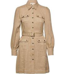 hemp utility mini dress kort klänning brun michael kors