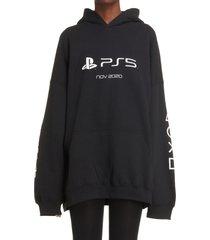 men's balenciaga x sony playstation 5 oversize hoodie, size medium - black
