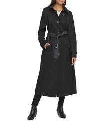 dkny women's belted maxi trench coat - black - size l