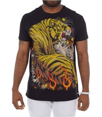 heads or tails 3d graphic printed hot tiger rhinestone studded t-shirt