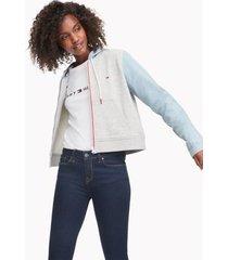 tommy hilfiger women's denim hoodie grey heather / light wash - m