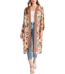 steve madden floral embroidered duster kimono
