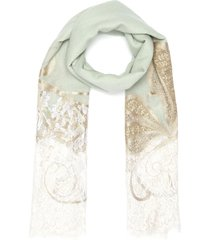butterfly embroidered lace edge scarf