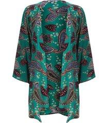 kimono estampado color verde, talla 10
