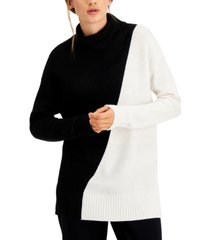 alfani petite colorblocked turtleneck sweater, created for macy's