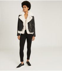 reiss nolan - leather biker jacket with shearling gilet in black, womens, size 10