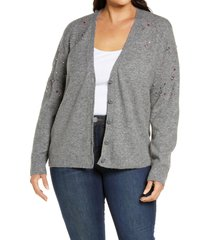 plus size women's halogen embellished cardigan sweater, size 2x - grey
