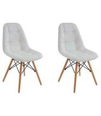 conjunto 2 cadeiras eiffel botonê branco