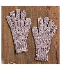 100% alpaca gloves, 'winter delight in light mauve' (peru)