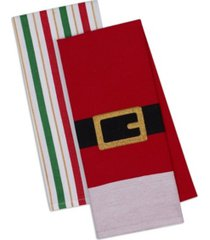 design imports assorted santa belt dishtowel set