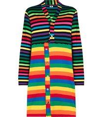 comme des garçons homme plus rainbow-stripe long-line cardigan -